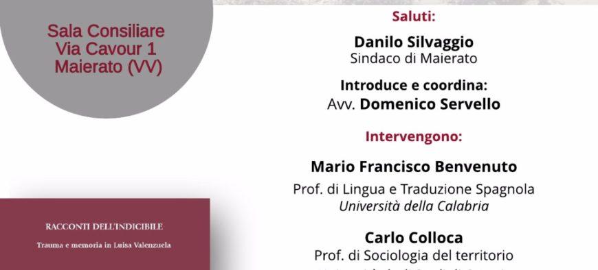 """Doppia presentazione per """"Racconti dell'indicibile – Trauma e memoria in Luisa Valenzuela"""""""